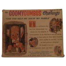 """Game puzzle 1965 """"the Goomygumbus Challenge"""""""