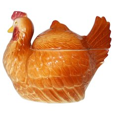 Chicken on nest FAPCO  pottery cookie jar