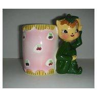 Charming Kelly green Elf leprechaun w/ calico vase planter