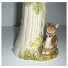 Vintage Japan ceramic deer fawn under tree vase