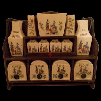 Royal Sealy Japan  tole  spice  canister vinegar set display w/ shelf