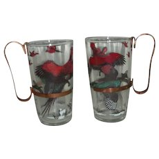 Pheasant glasses with brass metal handles