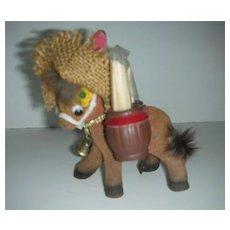 Enesco flocked donkey w/ toothpick barrels
