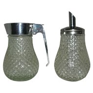 Glass Metal cream sugar servers