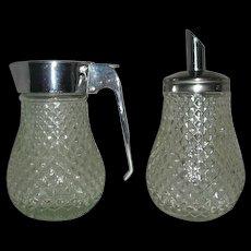 Glass Metal cream sugar servers