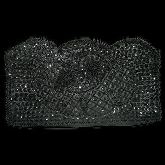 Bonsoir Black Italian beaded clutch purse
