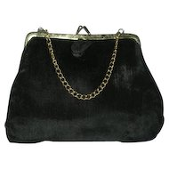 Vintage Little black velvet purse w/ chain