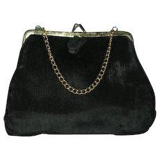 Vintage Little black velvet purse w/ chain