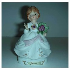 Vintage Japan June birthday gem girl figurine