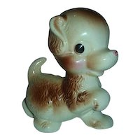 Puppy Prancing pottery figurine