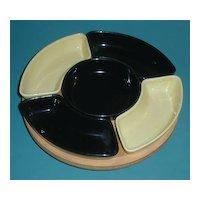 Black & yellow California pottery  Lazy Susan