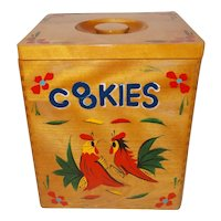Wood rooster Cookie Jar  folk art canister  box
