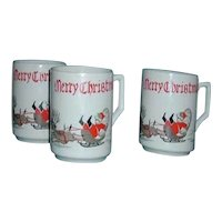 Humorous speeding Baird Santa cups