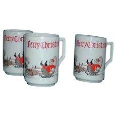 Humorous speeding Baird Santa cups