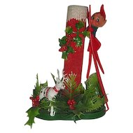 Elf on ladder w/ tall Christmas candle