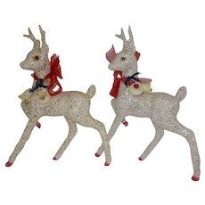 Vintage White glitter 12 inch Reindeer