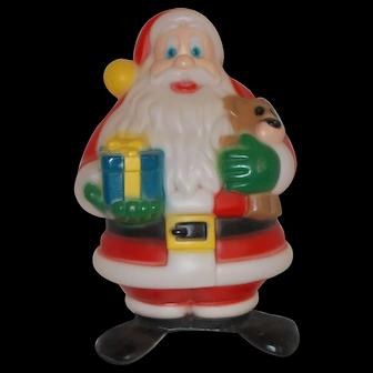 Vintage   Christmas Santa w/ gift & Teddy Bear Blow Mold