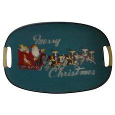 Vintage Santa w/ reindeer blue  Christmas Tray