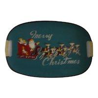 Christmas blue tray w/ Santa and reindeer