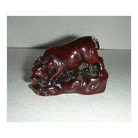 Miniature reddish brown resin bull steer cow figurine