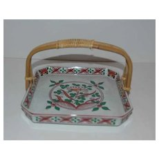 Japan square dish w/ bamboo  wrapped handle