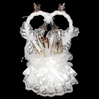 Wedding Cake Topper Blown Glass bells swans