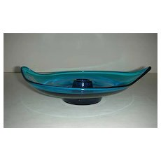 Handmade Viking art glass bluenique #1196 candlestick