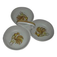 Rooster part divided serving dish marked Italy