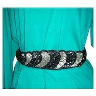 Black, gray, silver beaded design belt