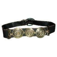 Black gold belt with Concho trim