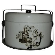 Covered metal Cake safe pie or cookie carrier w/ Chef & Scottie