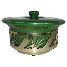 Northington green dish w/tigertail frame