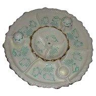 1950 Chip  Dip California Aqua Pottery Fruit & Vegetable Server