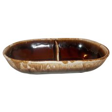 McCoy pottery divided brown drip dish