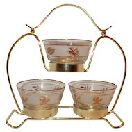 Libbey Gold Leaf Condiment caddy