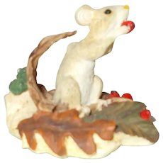 Mouse porcelain figurine marked Robarts