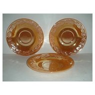 Fire King three Peach Lustre laurel Saucers