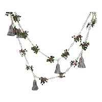 Vintage String of  holly bell white garland
