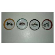 Four Old Time Ford, Sedan,  Autocar, Cadillac Car Ceramic Coasters