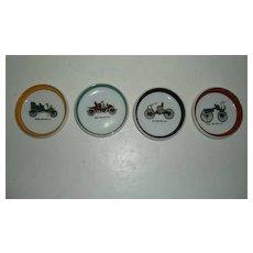 Four Old Time Ford, Sedan,  Autocar, Cadillac Car Ceramic Coasters