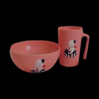 Clown  cup & bowl   child's dish  set