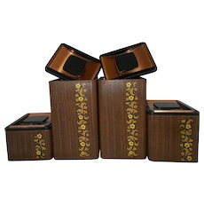 Kromex 1960  Canister set w/ faux  wood copper cover