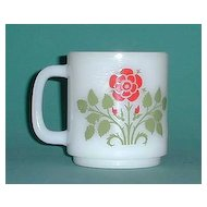 Glasbake  Milk Glass Cup w/ Red Flower