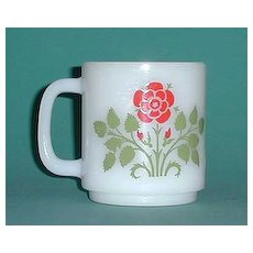 Glasbake  Milk Glass Cup w/ Red Flower