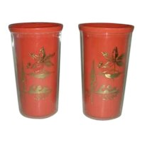 Two Orange leaf retro plastic tumbler glasses