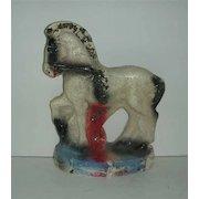 Glittered Carnival prize Chalkware prancing white Horse