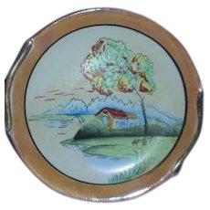 Lustre porcelain scenic  painted Japan plate