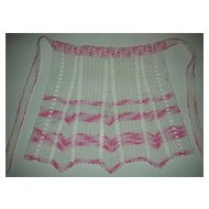 Chic pink and white crocheted apron