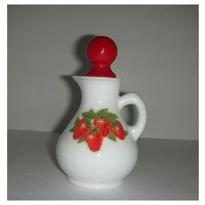 Avon strawberry & cream milk glass cruet