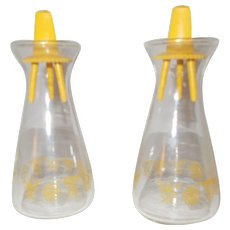 Pyrex butterfly gold glass salt and pepper shakers
